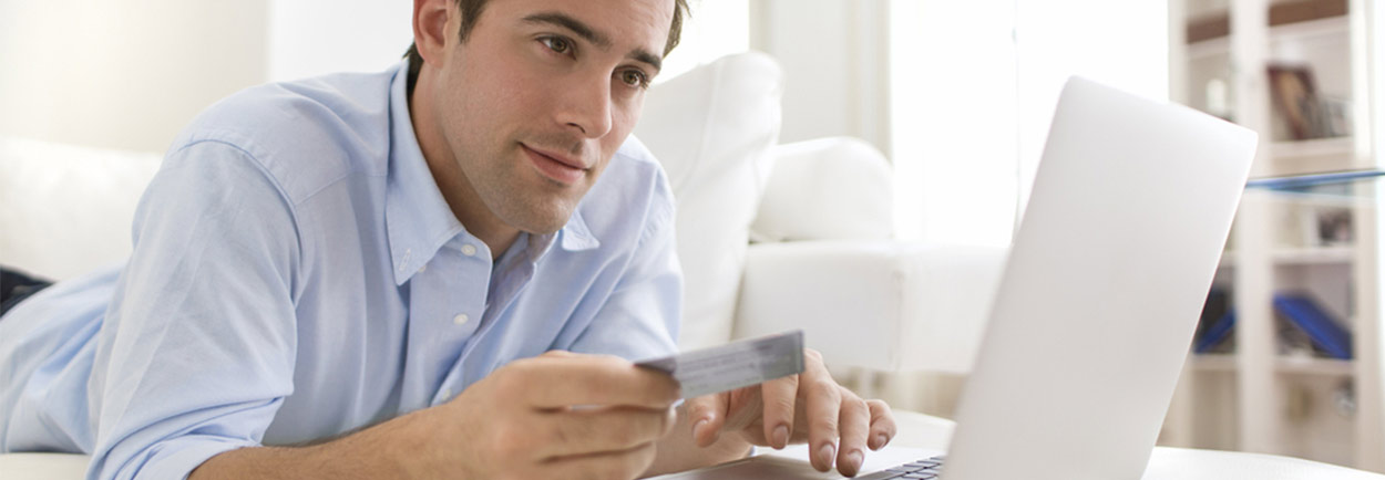 online shopping technology card guy