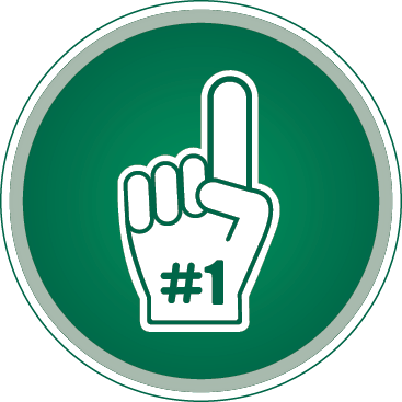 Green and white #1 Foam Finger circle image