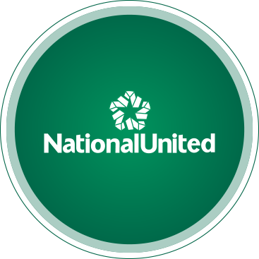 Green and white NationalUnited bubble logo