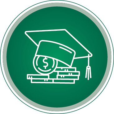 Green and white graduation hat and diploma round image