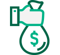Dark and light green hand holding a money bag icon