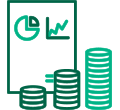 Dark and light green icon of graphic report and stacked coins