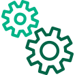 Gears in light and dark green Icon