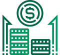 Green increasing stacks and  a money sign icon