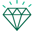 Dark and light green icon of a shining diamond