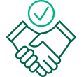 Dark and light green icon of  hands shaking and a check mark floating above