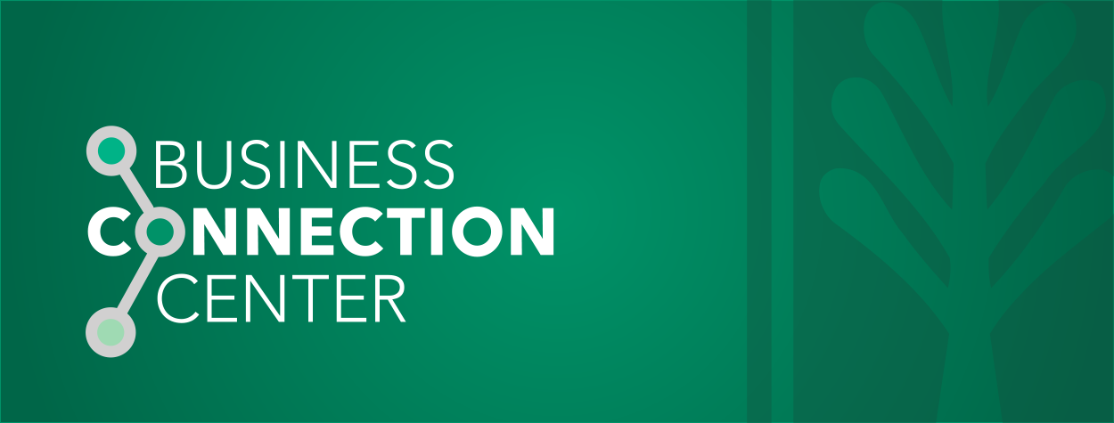 Business Connection Center header in Green and White