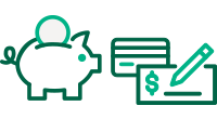 Green Piggy Bank, Check and Card Icon