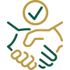 Handshake with green and gold hands icon