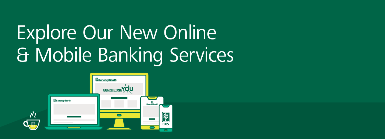 Green header image saying Explore our new online and mobile banking services