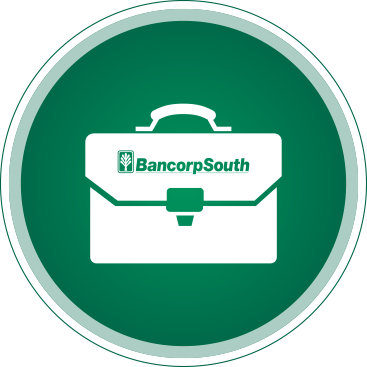 Green circle with BancorpSouth logo on briefcase