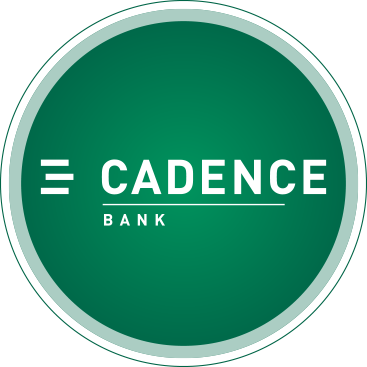Green circle with Cadence Bank logo in white