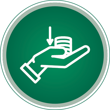 Round green and white icon of a hand holding coins