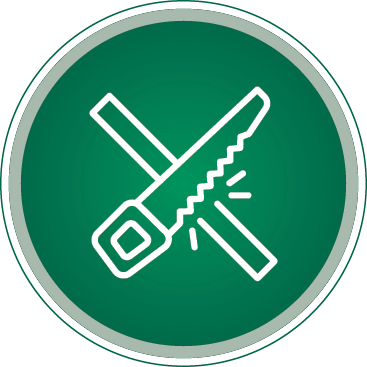 Round green and white icon of construction tools