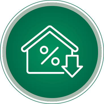 Green and white Round Icon of a home percent sign and a down arrow