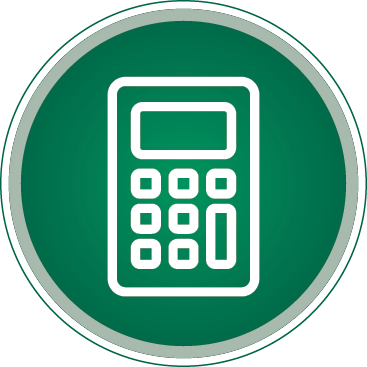 Round Calculator Icon in green and white