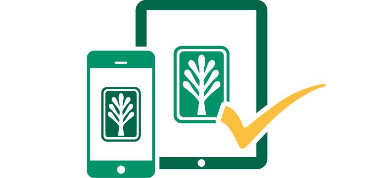 Mobile devices in green with a gold checkmark