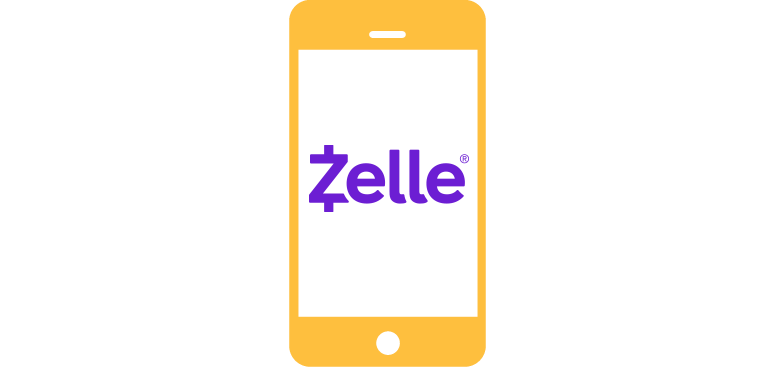 Gold phone with zelle in purple