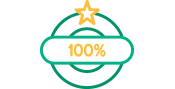 Green and Gold Round Certainty Icon