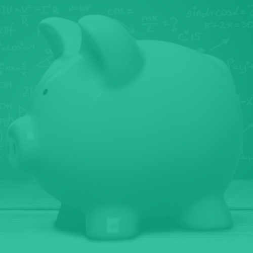 A piggy bank with green overlay