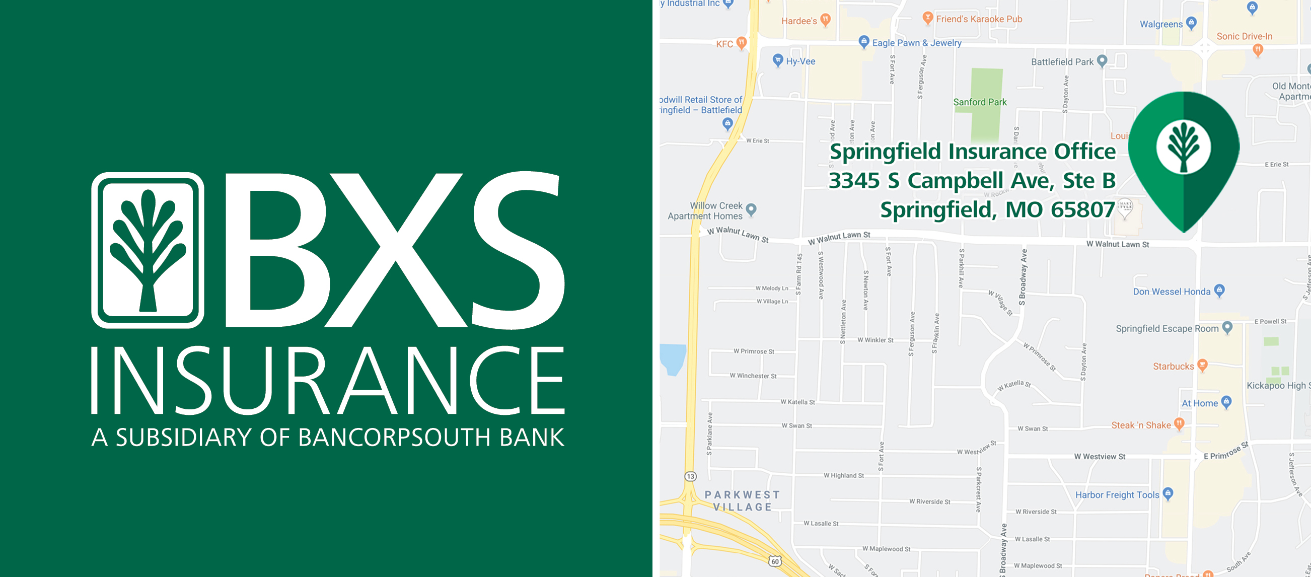 BancorpSouth Map of Springfield Insurance Office