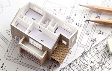 architectural blueprint with house model